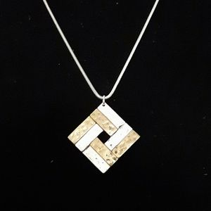 Passion signed Silver tone geometric necklace